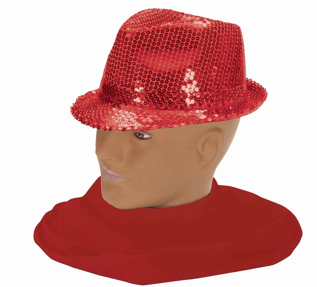 Costume Fedora Red Sequin Hat
