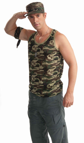 Mens Army Soldier Camo Tank Top - HalloweenCostumes4U.com - Adult Costumes