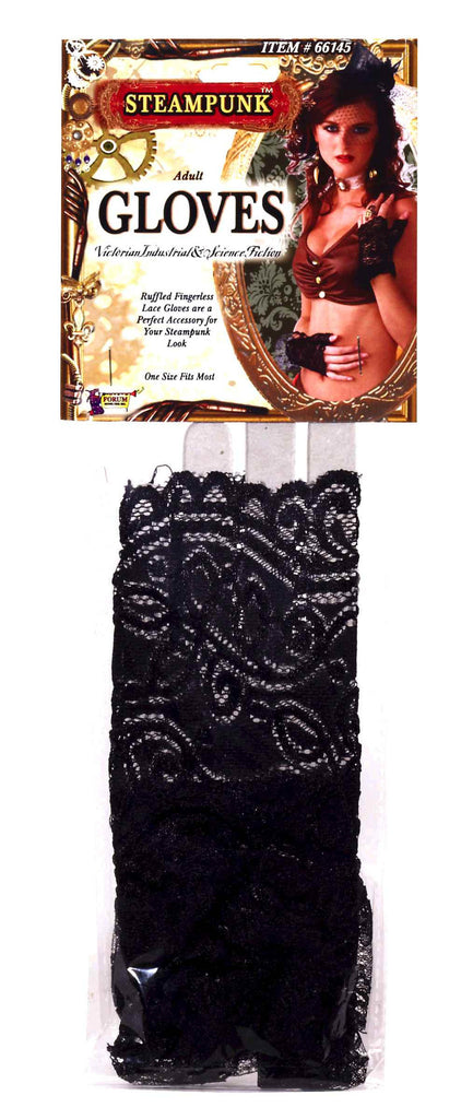 Lace Costume Gloves Fingerless Black Lace - HalloweenCostumes4U.com - Accessories