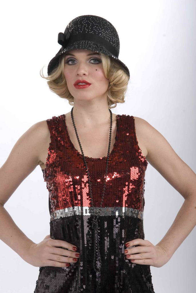 Deluxe Flapper Costume Hat Sequined - HalloweenCostumes4U.com - Accessories