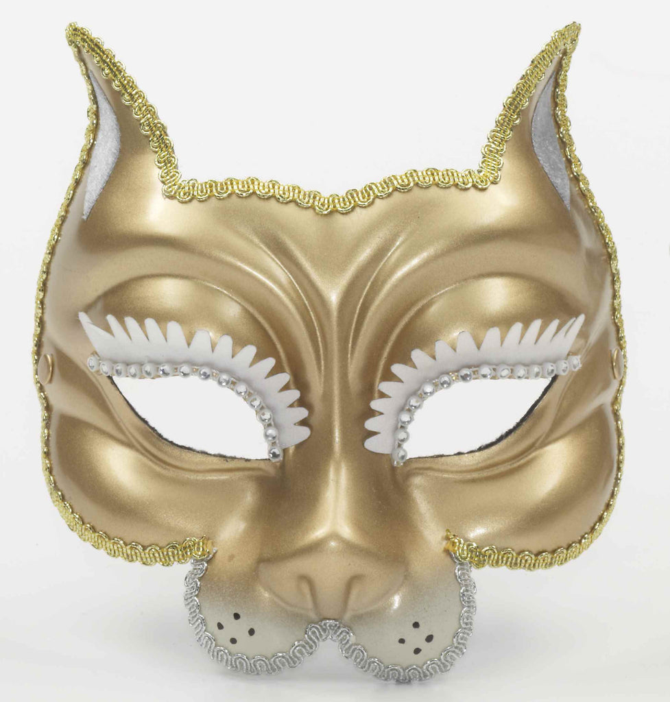 Gold Cat Venetian Costume Mask