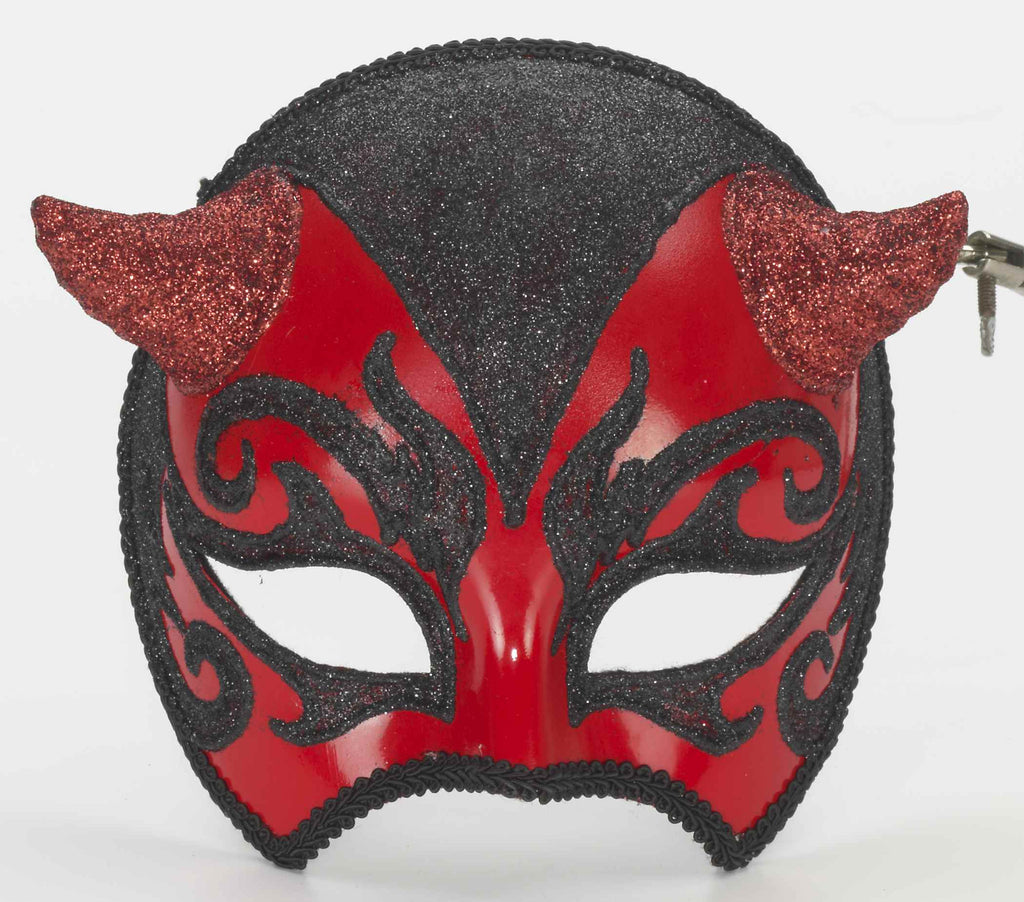 Red Devil Venetian Costume Mask - HalloweenCostumes4U.com - Accessories