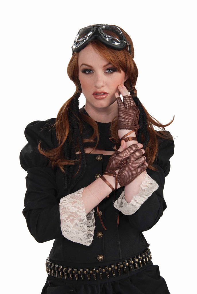 Fishnet Gloves Steampunk Costume Gloves - HalloweenCostumes4U.com - Accessories
