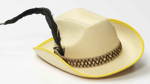 Cowboy Costume Hat Tan with Feather - HalloweenCostumes4U.com - Accessories