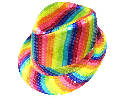 Rainbow Striped Fedora Hat - HalloweenCostumes4U.com - Accessories