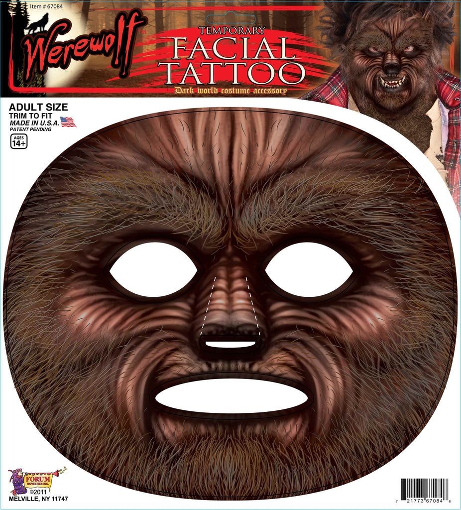 Werewolf Facial Tattoo - HalloweenCostumes4U.com - Accessories