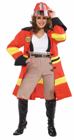 Women's Fire Fighter Plus Sized Costume - HalloweenCostumes4U.com - Adult Costumes