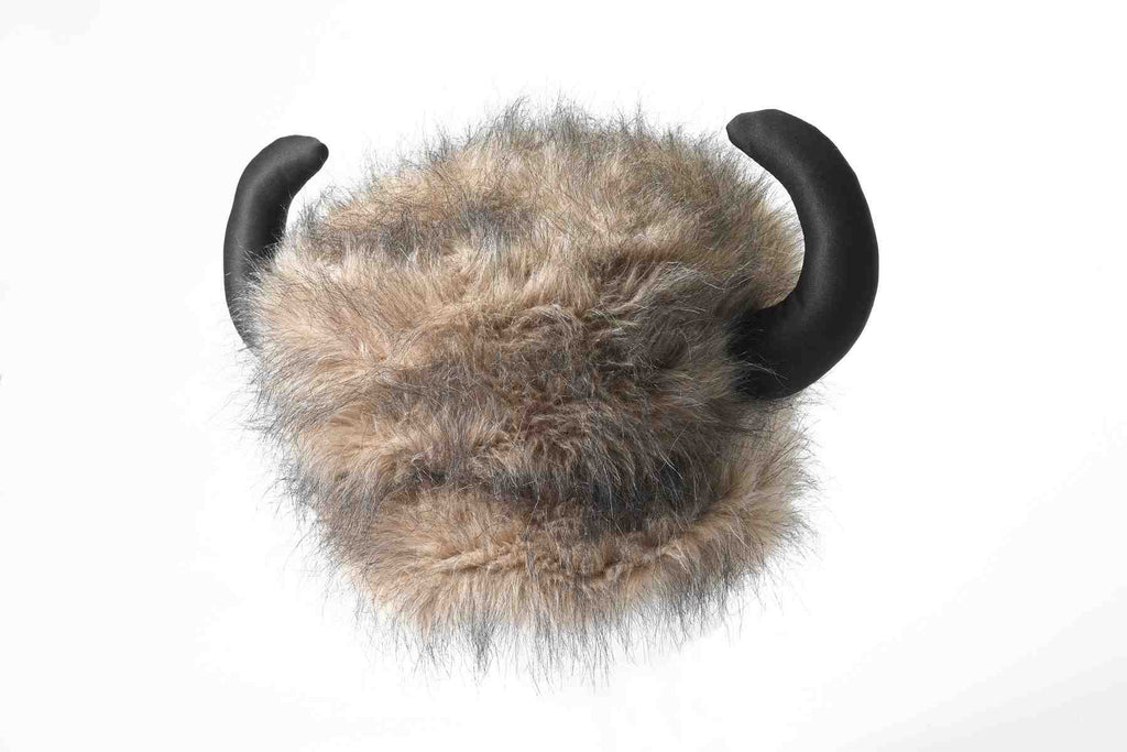 Furry Buffalo Hat with Horns - HalloweenCostumes4U.com - Accessories