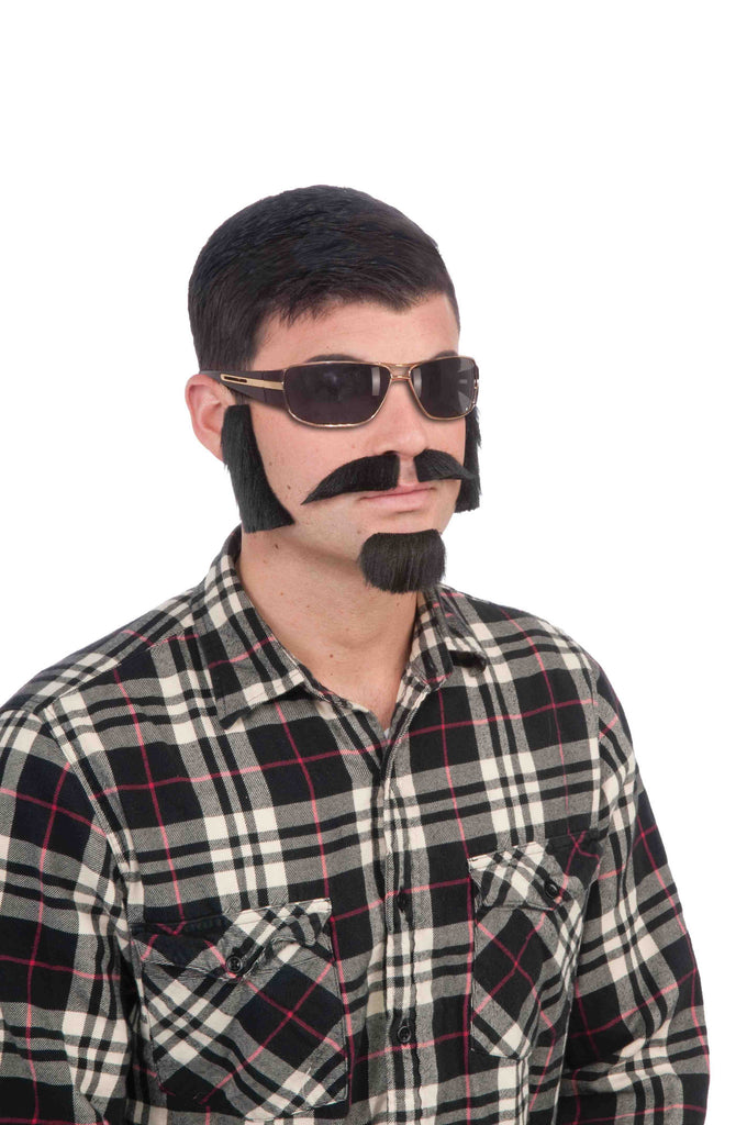 Moustache Beard and Lamb chops Black - HalloweenCostumes4U.com - Accessories