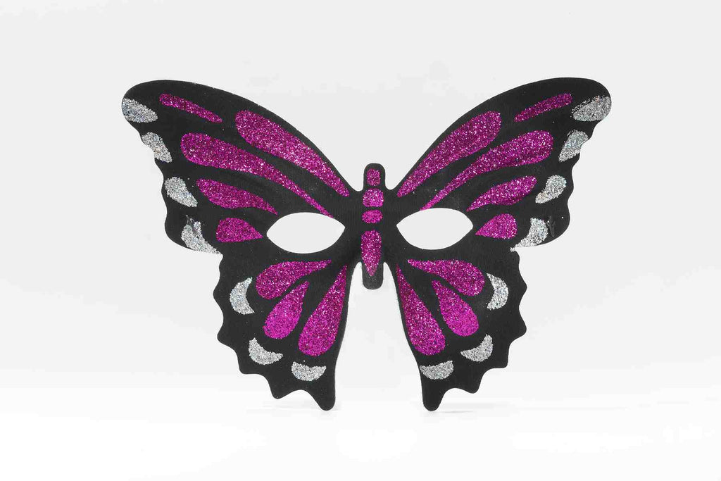 Hot Pink Butterfly Glitter Masks - HalloweenCostumes4U.com - Accessories