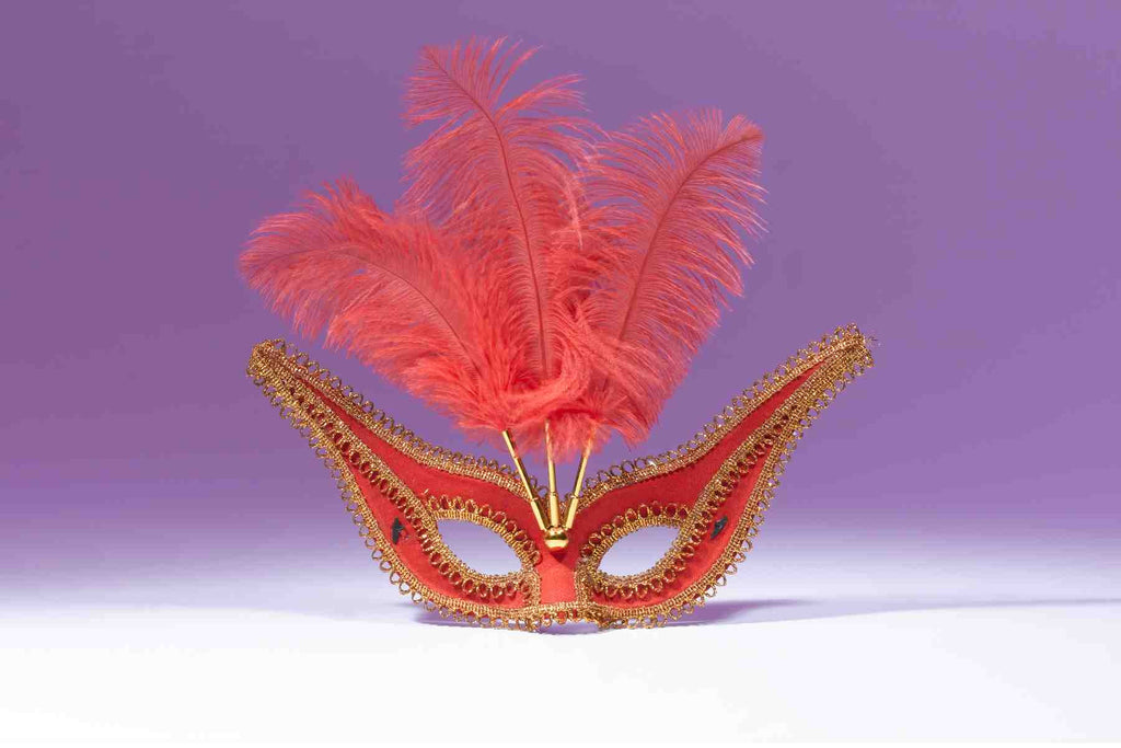 Exotic Gala Mask with Feathers Red