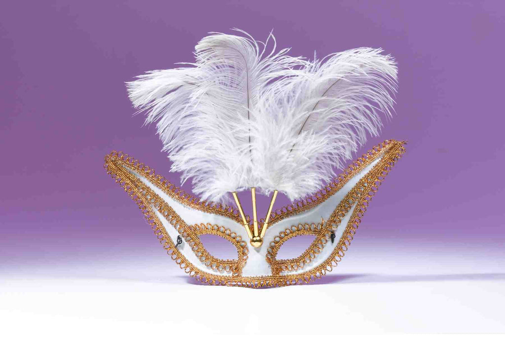 Exotic Gala Mask with Feathers White - HalloweenCostumes4U.com - Accessories