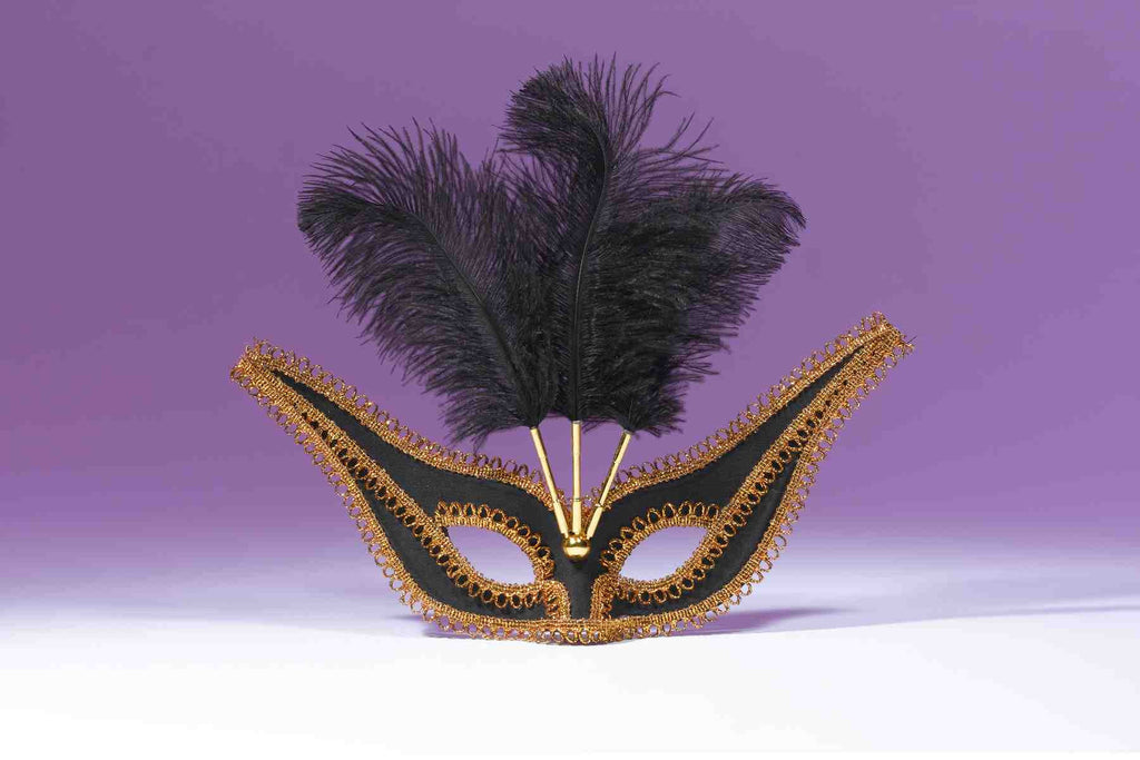 Exotic Gala Mask with Feathers Black - HalloweenCostumes4U.com - Accessories