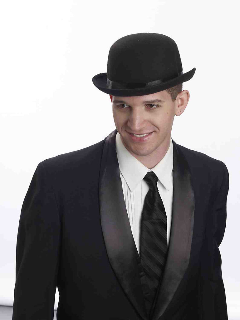 Deluxe Bowler Derby Costume Hat Black - HalloweenCostumes4U.com - Accessories