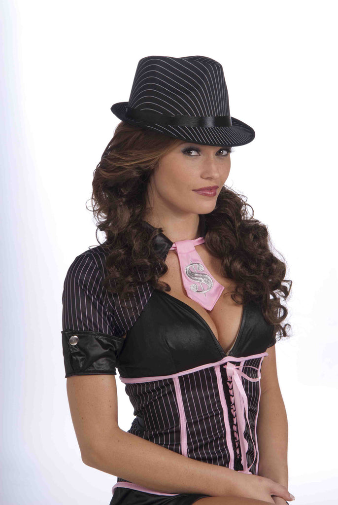 Ladies Pinstripe Fedora Hat Black/White - HalloweenCostumes4U.com - Accessories