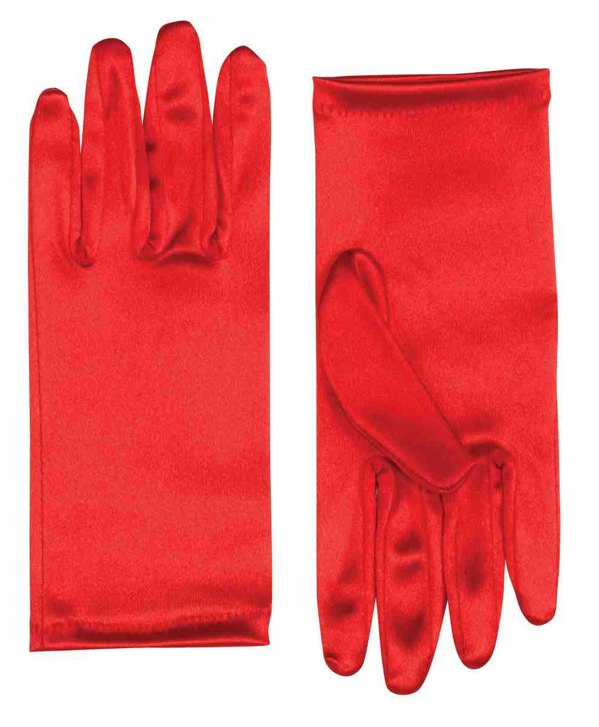 Satin Costume Gloves Red