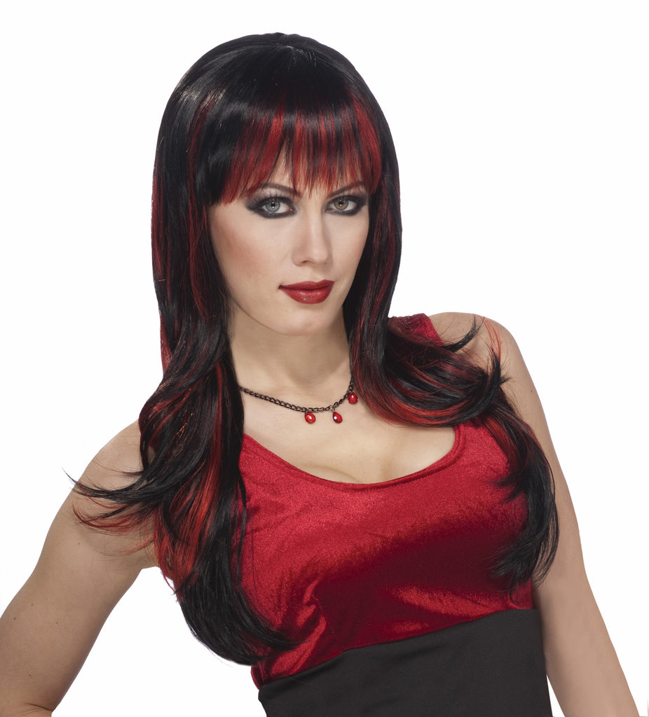 Red and Black Gothic Vampire Woman Wigs - HalloweenCostumes4U.com - Accessories