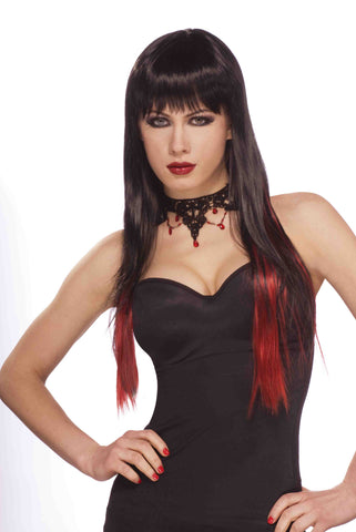 Sexy Gothic Vamp Wig Black with Red - HalloweenCostumes4U.com - Accessories