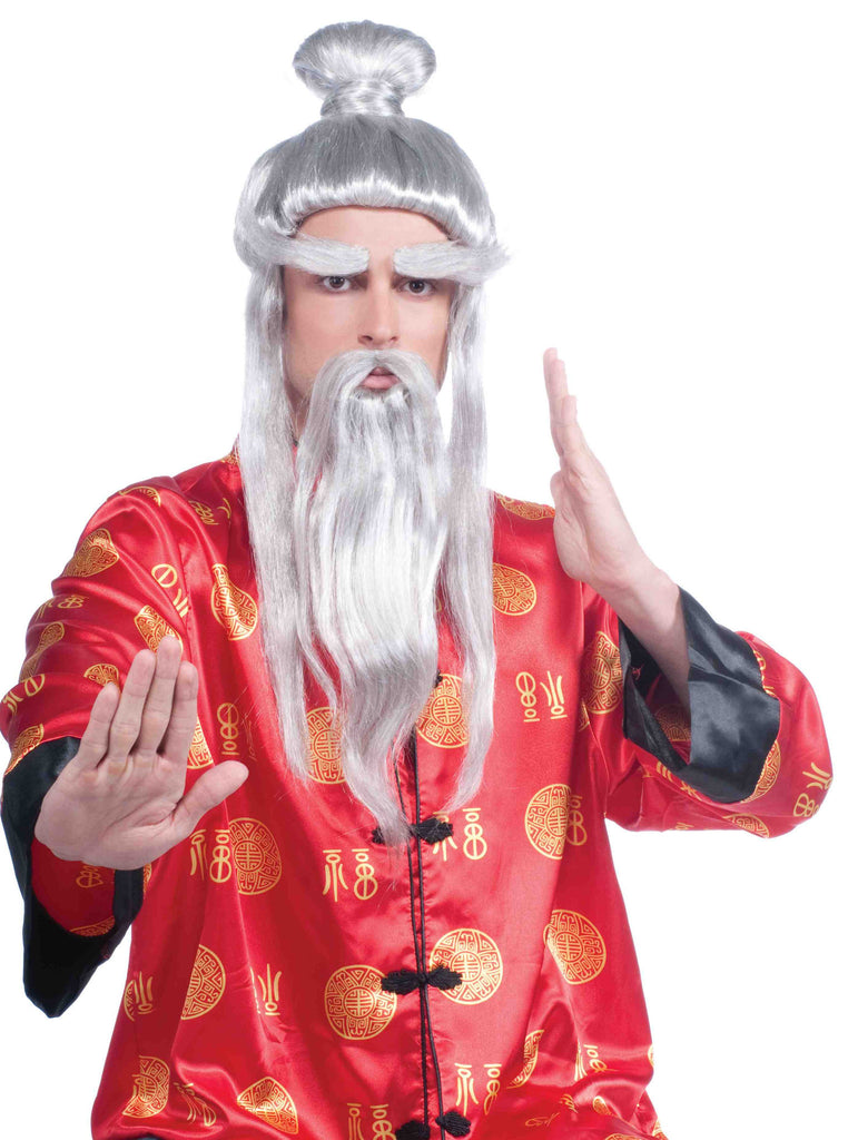 Martial Arts Sensei Costume Wig Grey - HalloweenCostumes4U.com - Accessories