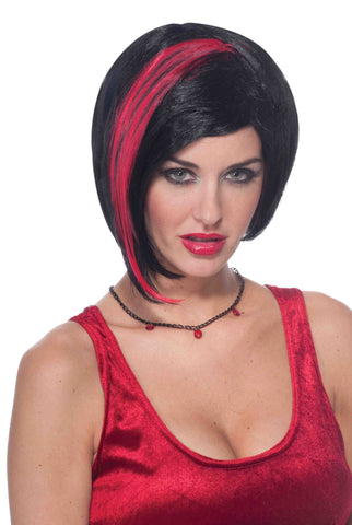 Red/Black Vamp Woman Bob Wig - HalloweenCostumes4U.com - Accessories