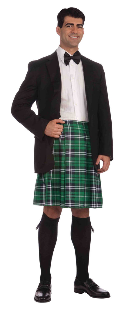 Irish Gentleman's Costume Kilt Green Plaid - HalloweenCostumes4U.com - Holidays