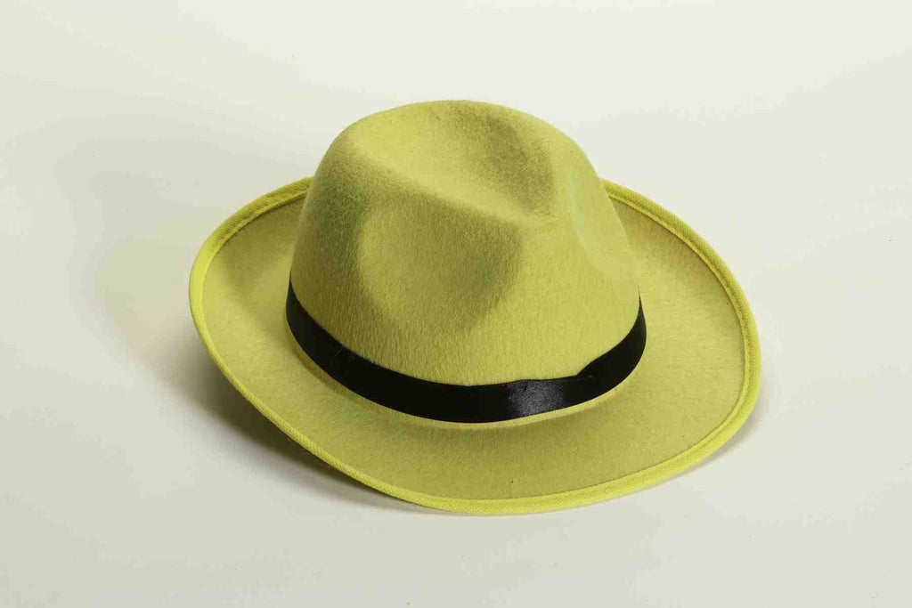 Halloween Fedora Hat Yellow Felt Fedora - HalloweenCostumes4U.com - Accessories