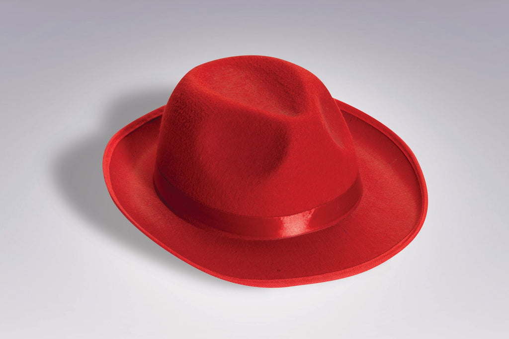 Costume Fedora Red Felt Fedora Hat - HalloweenCostumes4U.com - Accessories