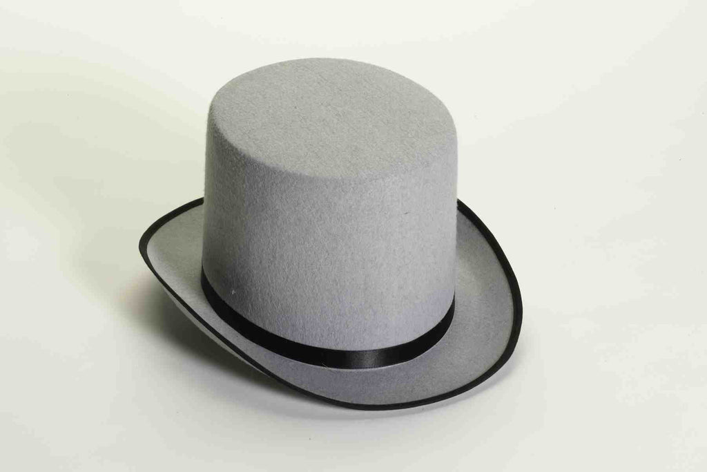Costume Stove Pipe Hat Grey/Black - HalloweenCostumes4U.com - Accessories