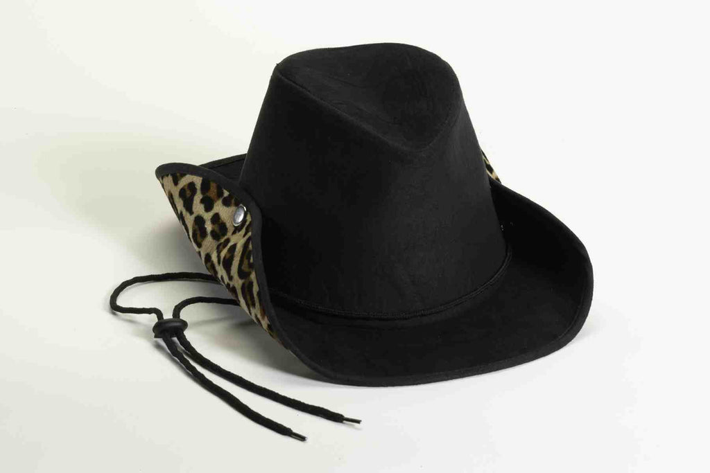 Cowboy Suede and Leopard Print Hat - HalloweenCostumes4U.com - Accessories