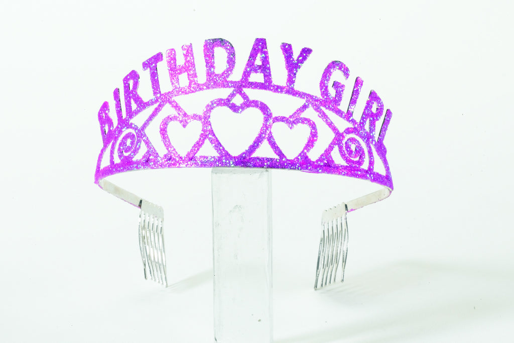 Glitter Birth.Girl Tiara-Pink - HalloweenCostumes4U.com - Accessories
