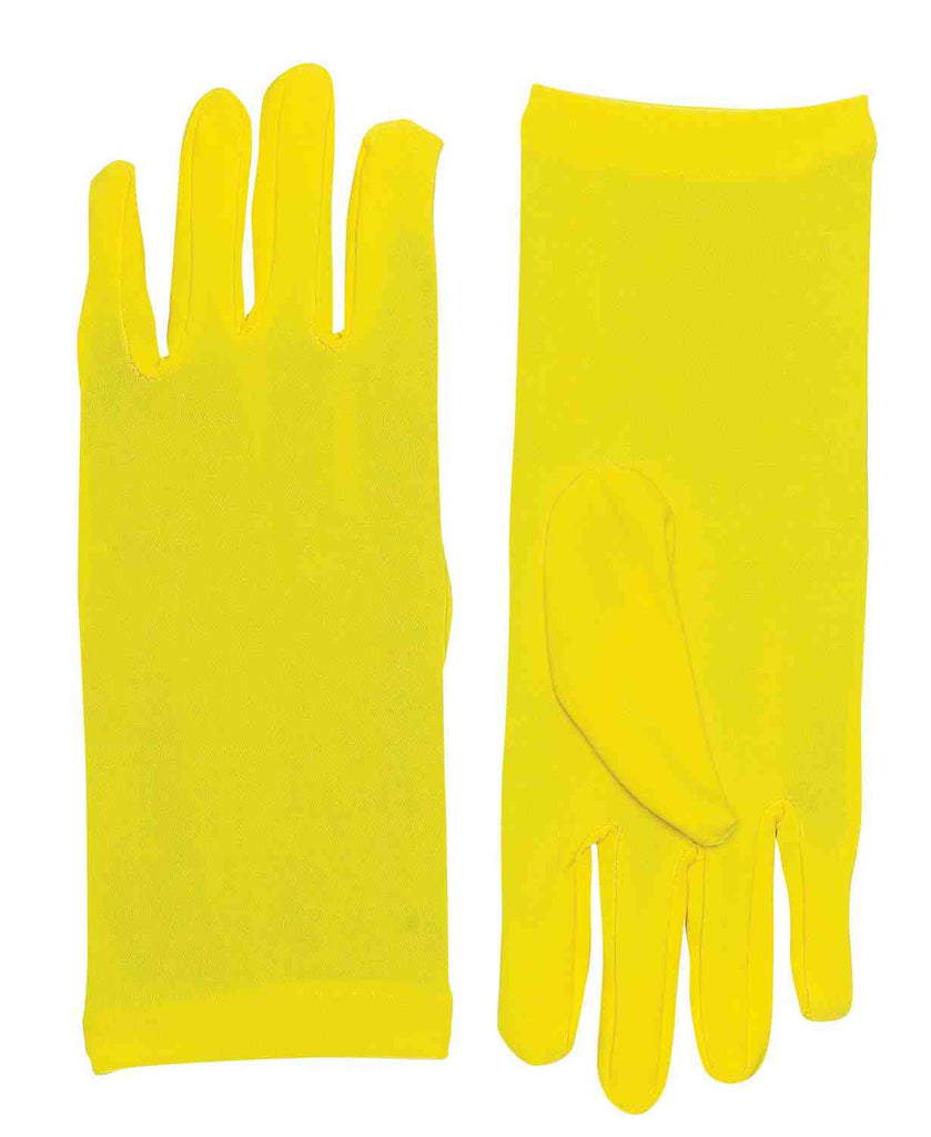 Yellow Costume Gloves Short Dress Gloves - HalloweenCostumes4U.com - Accessories