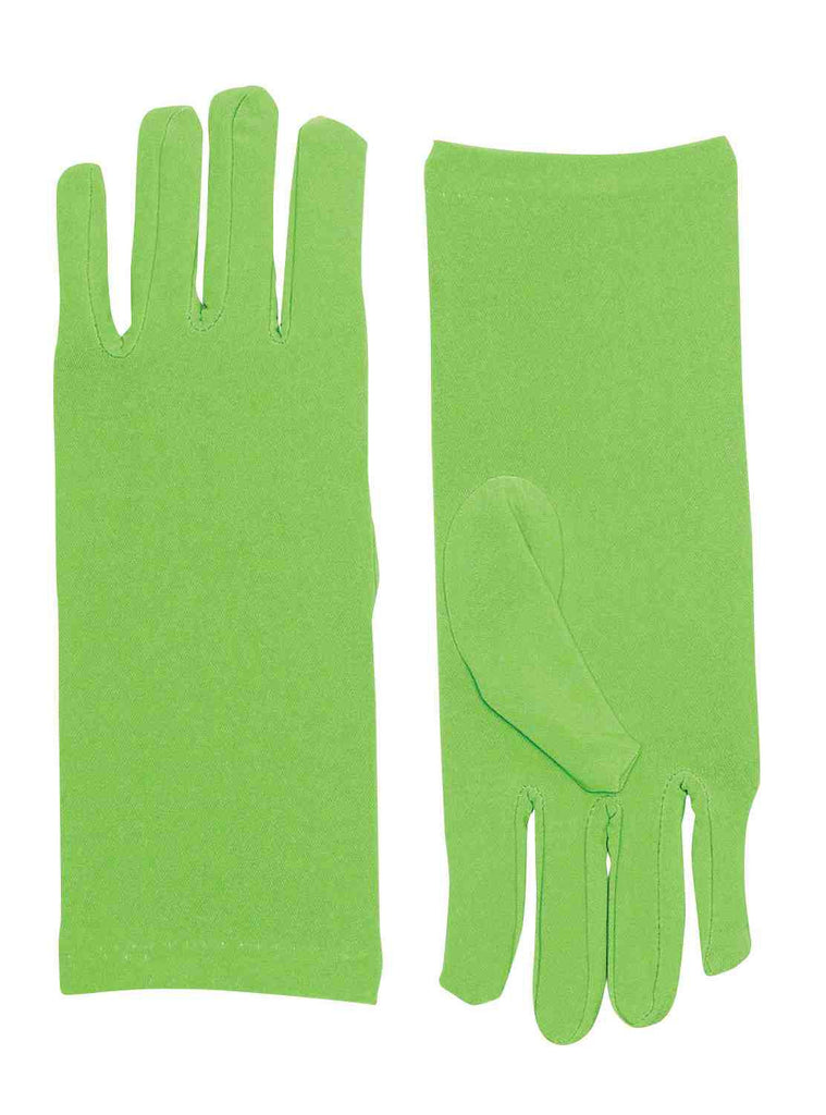 Green Costume Gloves Short Dress Gloves - HalloweenCostumes4U.com - Accessories