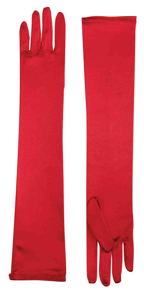 Satin Costume Gloves Long Red - HalloweenCostumes4U.com - Accessories