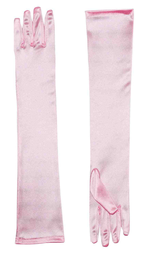 Satin Costume Gloves Long Pink - HalloweenCostumes4U.com - Accessories