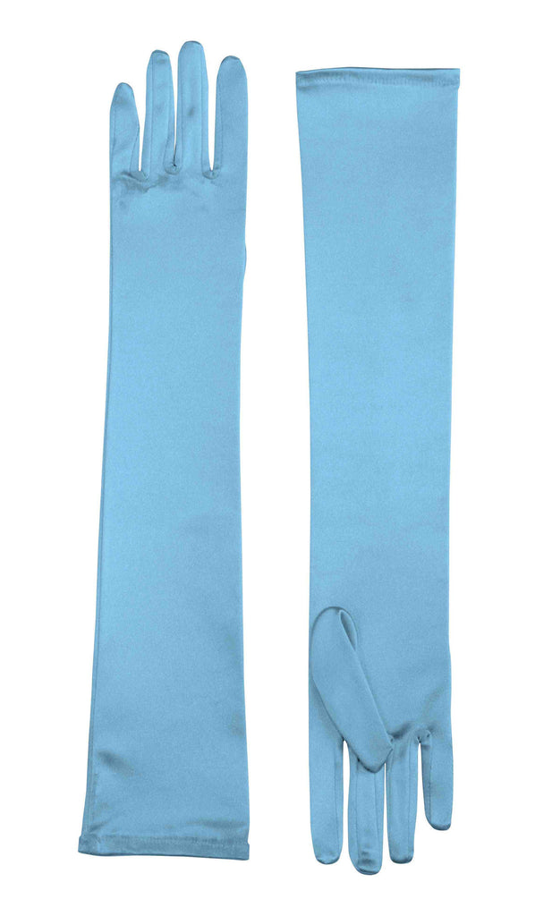 Satin Costume Gloves Long Blue