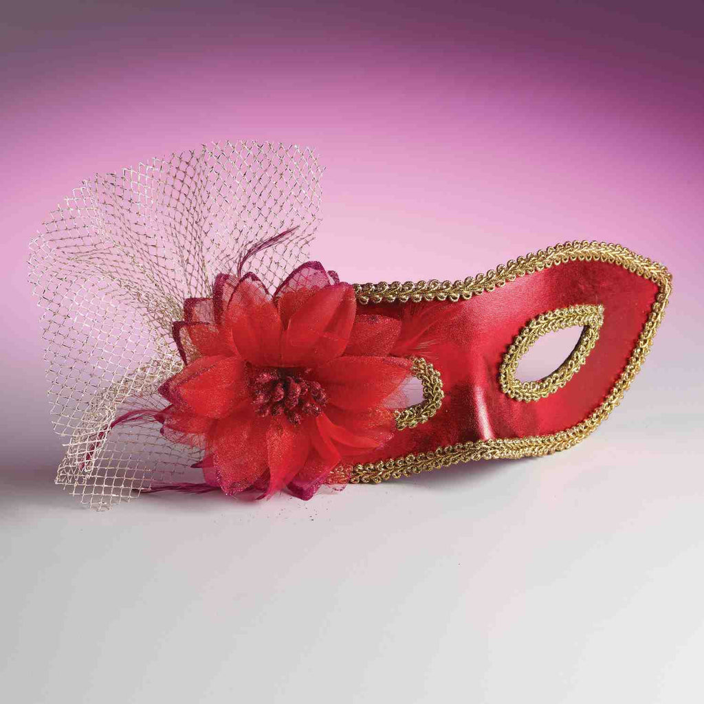 Venetian Flower Eyemask Red - HalloweenCostumes4U.com - Accessories