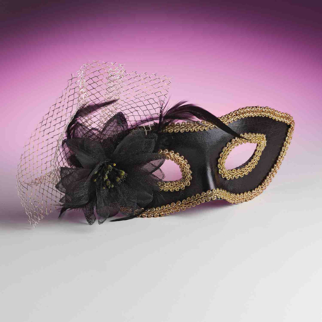 Venetian Flower Eyemask Black - HalloweenCostumes4U.com - Accessories