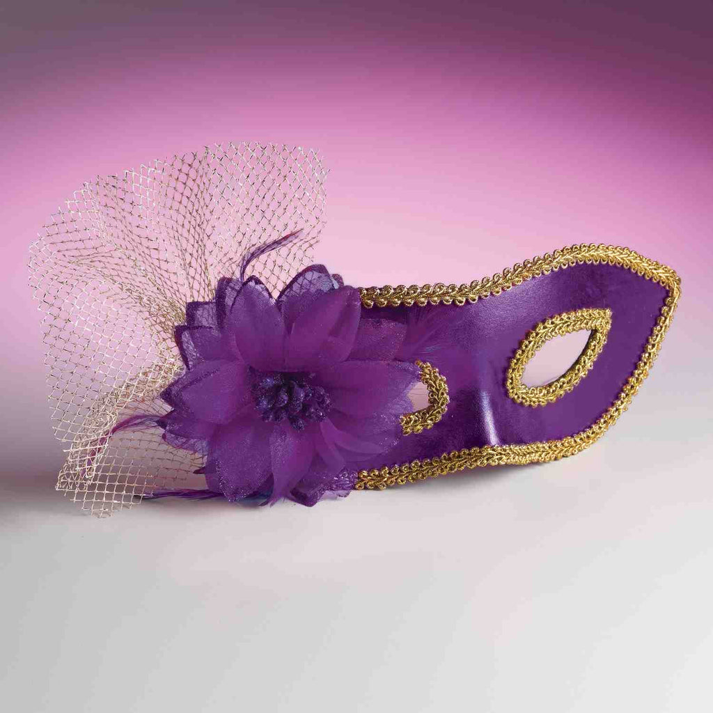 Purple Venetian Flower Halloween Eye Mask - HalloweenCostumes4U.com - Accessories