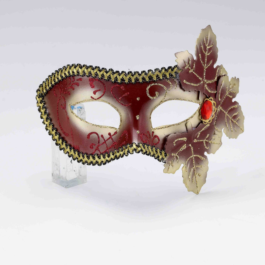 Leaf Trimmed Red Masquerade Mask - HalloweenCostumes4U.com - Accessories