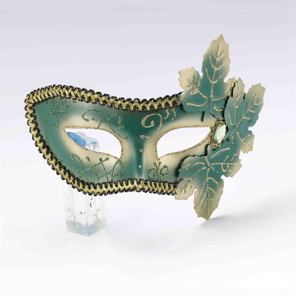 Leaf Trimmed Green Masquerade Mask - HalloweenCostumes4U.com - Accessories