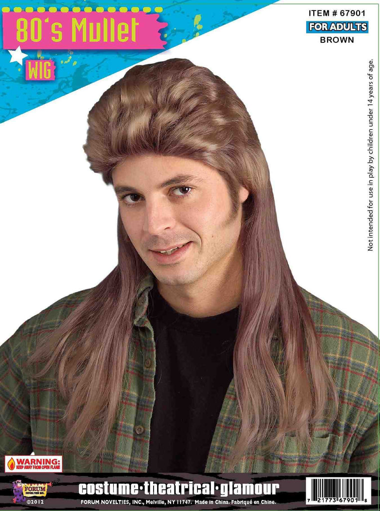 Wig-80's Long Mullet-Brown