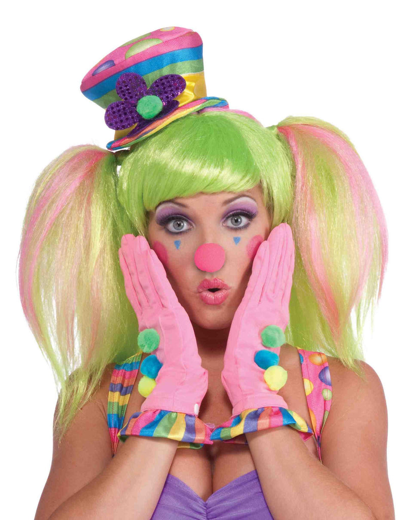 Female Clown Pink Gloves - HalloweenCostumes4U.com - Accessories