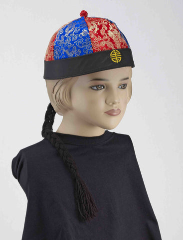 Kids Chinese Hat with Pigtail - HalloweenCostumes4U.com - Accessories