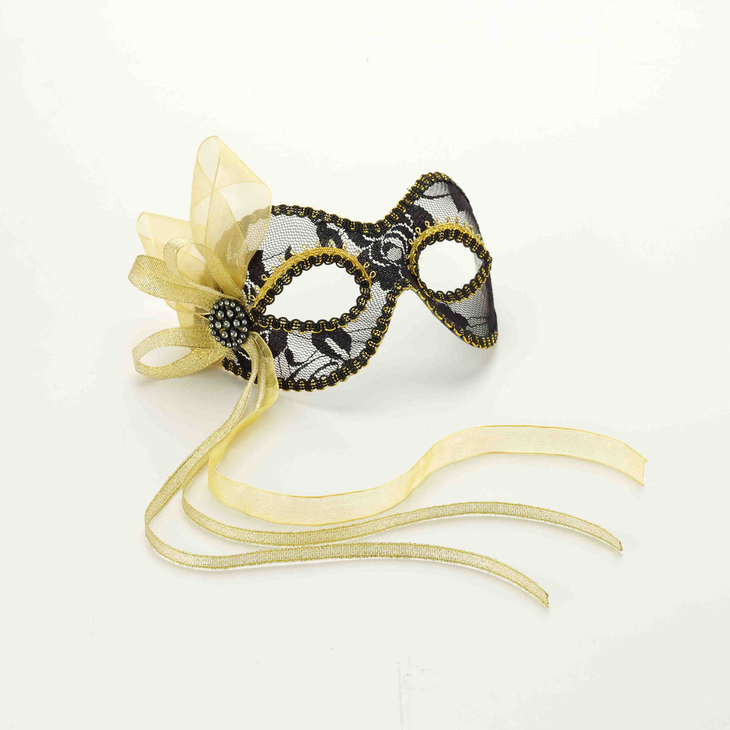 Venetian Mask-Lace-Black/Gold - HalloweenCostumes4U.com - Accessories
