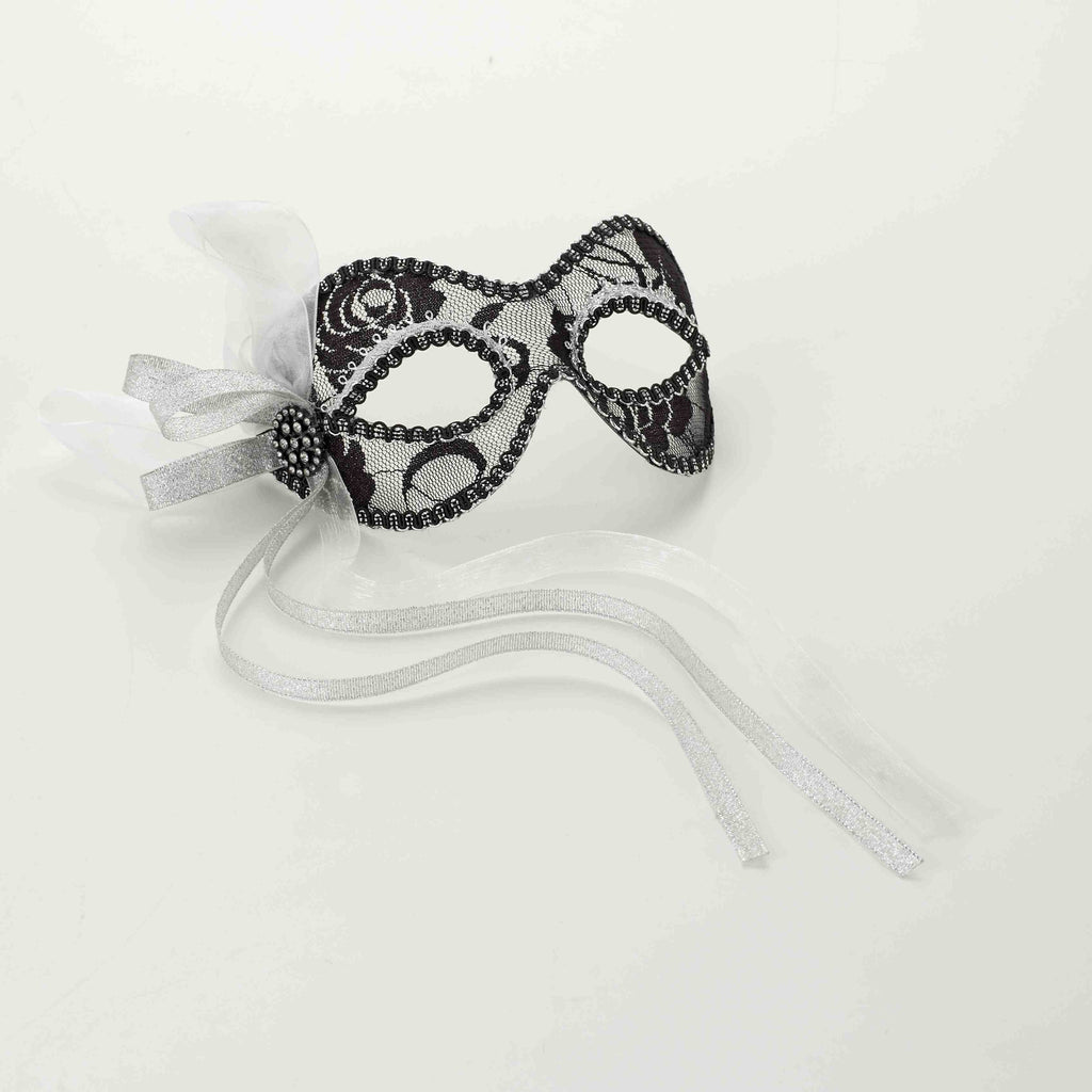 Venetian Mask-Lace-Black/Silver - HalloweenCostumes4U.com - Accessories