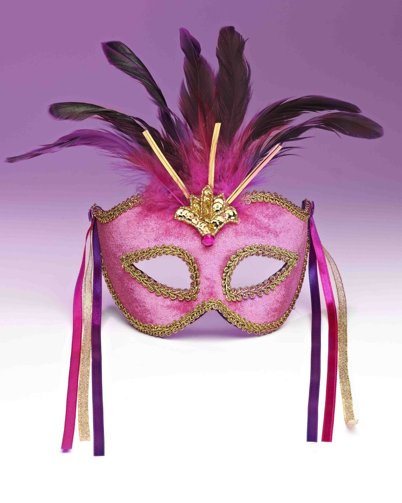 Venetian Mask Pink - HalloweenCostumes4U.com - Accessories