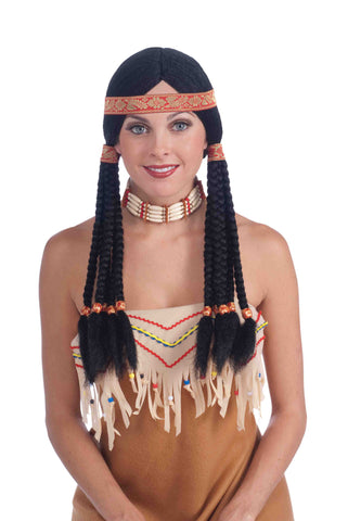 Deluxe Native American Squaw Braids Wig - HalloweenCostumes4U.com - Accessories