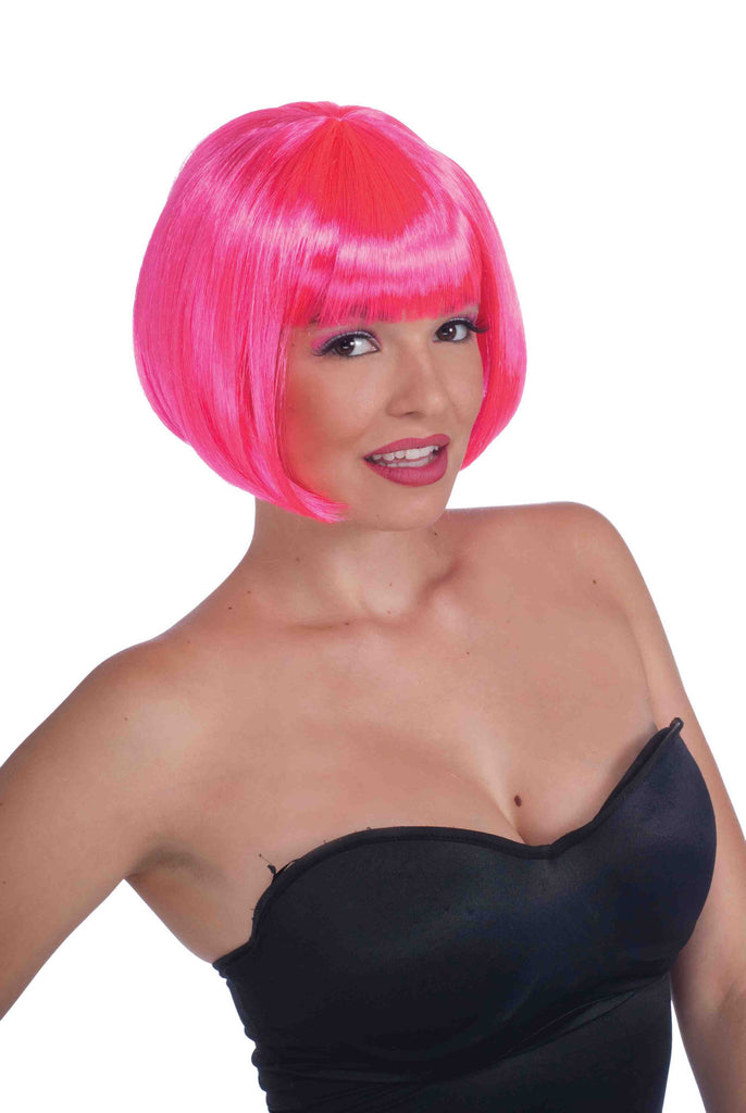 Neon Pink Ladies Sexy Bob Cut Wigs - HalloweenCostumes4U.com - Accessories