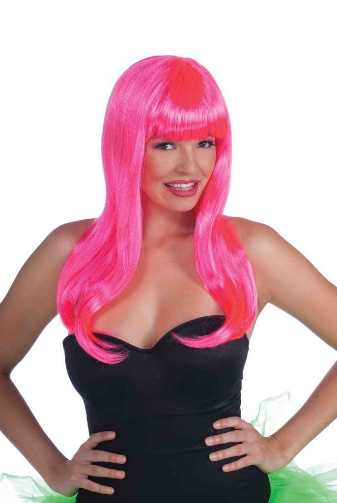 Pink Neon Halloween Wig Long Sexy - HalloweenCostumes4U.com - Accessories