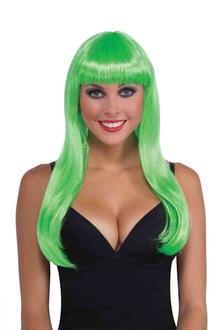 Green Neon Halloween Wig Long Sexy - HalloweenCostumes4U.com - Accessories